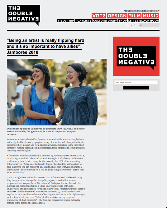 Jamboree 2018: Eva Szwarc's report for The Double Negative