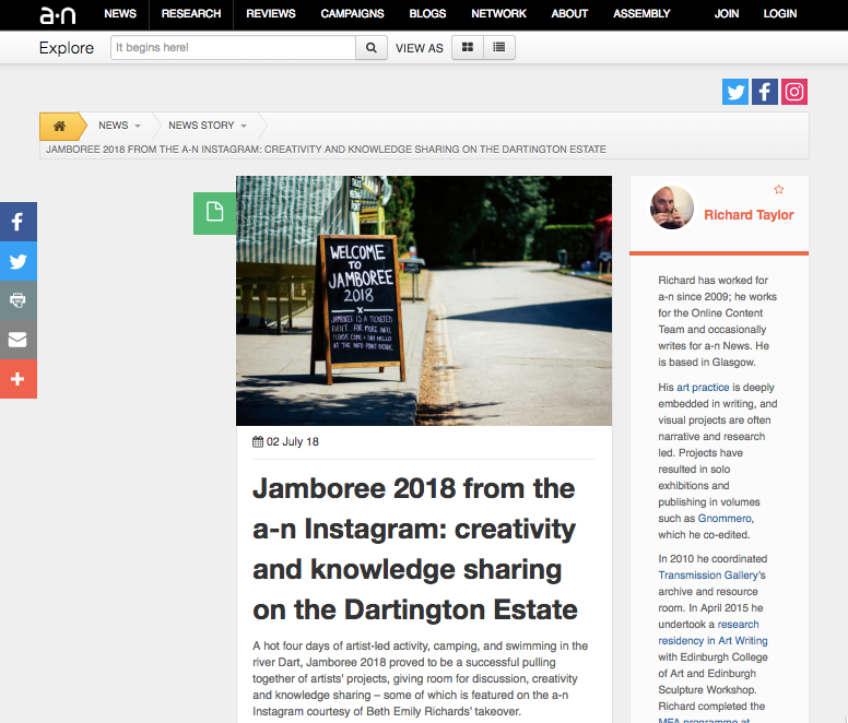 Jamboree 2018: Instagram takeover round-up by a-n